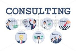 Consulting concept design for business, planning, strategy etc. Vector illustration - Vector illustrations for everyone | Microstocker.Pro