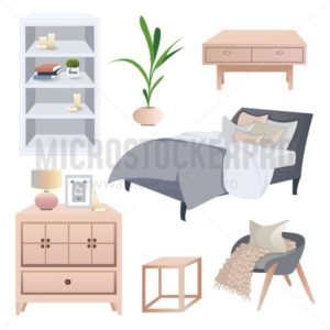 Cozy scandinavian interior elements. Hygge interior design set. Bed, arm-chair, table, lamp, candles, bookshelf isolated on white background. - Vector illustrations for everyone | Microstocker.Pro