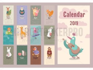 Cute animals retro calendar for 2019 year Vector planner illustration for New Year. - Vector illustrations for everyone | Microstocker.Pro