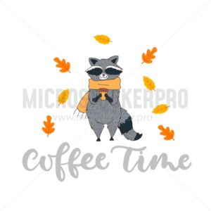 Cute autumn card with racoon in scarf and cup of coffee. Autumn vector illustration with lettering. - Vector illustrations for everyone | Microstocker.Pro