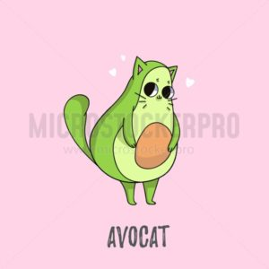 Cute avocado cat illustration. Cat design for greeting cards, prints, posters etc - Vector illustrations for everyone | Microstocker.Pro
