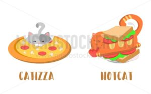 Cute fast food cats, Pizza cat and hot dog food with a cat. Kawaii vector cats. - Vector illustrations for everyone | Microstocker.Pro