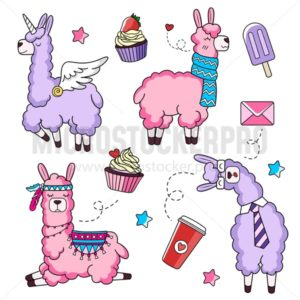 Cute llama characters set with doodles. Unicorn llama. Business llama and llama with a scarf. Vector illustration. - Vector illustrations for everyone | Microstocker.Pro