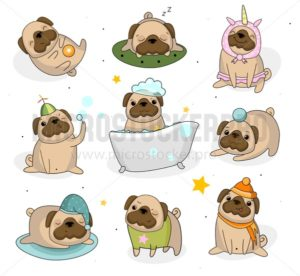 Cute pug dog set. Hand drawn pug stickers isolated on white background. Adorable pet dogs for cards, prints etc. Vector illustration - Vector illustrations for everyone | Microstocker.Pro