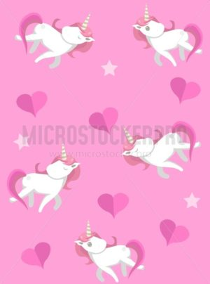 Cute unicorns seampless pattern with pink background. Vector unicorns with hearts for prints, textile, greeting cards etc. - Vector illustrations for everyone | Microstocker.Pro