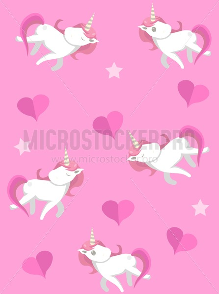 Cute unicorns seampless pattern with pink background. Vector unicorns with hearts for prints, textile, greeting cards etc. - Vector illustrations for everyone   Microstocker.Pro