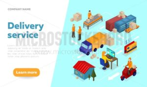 Delivery service web banner design template with isometric elements. Logistics isometric illustration. Isometric vector delivery infographics. - Vector illustrations for everyone | Microstocker.Pro