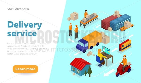 Delivery service web banner design template with isometric elements. Logistics isometric illustration. Isometric vector delivery infographics. - Vector illustrations for everyone   Microstocker.Pro