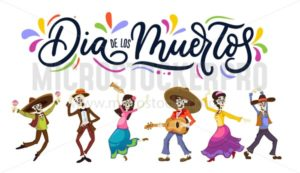 Dia de los Muertos greeting card for Day of the Dead. Greeting vector illustration with dancing skeletons and lettering. - Vector illustrations for everyone | Microstocker.Pro