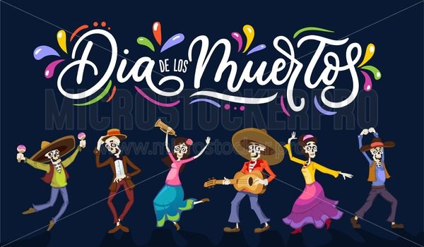 Dia de los Muertos greeting card for Day of the Dead. Greeting vector illustration with dancing skeletons and lettering on blue background - Vector illustrations for everyone | Microstocker.Pro