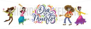 Dia de los Muertos greeting card for Day of the Dead. Greeting vector illustration with dancing skeletons and lettering on white background - Vector illustrations for everyone | Microstocker.Pro
