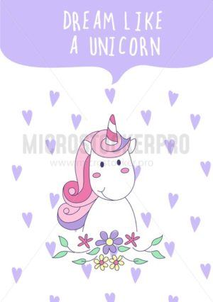 Dream like a unicorn inspirational vector card. Vector illustration - Vector illustrations for everyone | Microstocker.Pro
