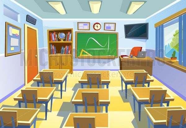 Empty classroom background in cartoon style. Class room colorful interior with chalkboard desks and school supplies. Vector Illustration for poster, flyer or background. - Vector illustrations for everyone | Microstocker.Pro
