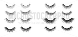 Faux lashes set isolated on white background, Vector illustration - Vector illustrations for everyone | Microstocker.Pro