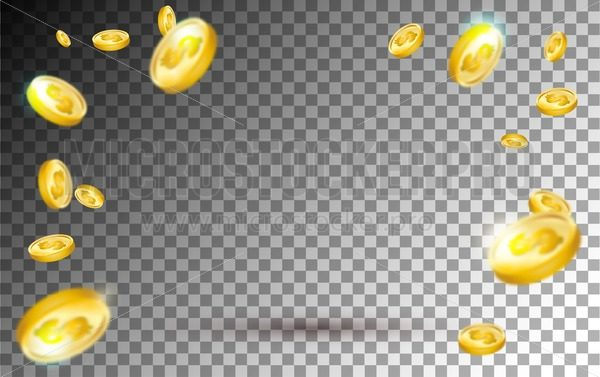 Flying gold coins explosion on transparent background. Realistic falling gold coins set for sale banner, casino, advertising or promotion. Vector illustration. - Vector illustrations for everyone | Microstocker.Pro