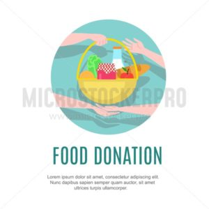 Food donation design template. Charity vector illustration - Vector illustrations for everyone | Microstocker.Pro
