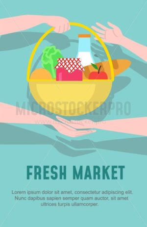 Fresh market design template. Vector illustration in flat style - Vector illustrations for everyone | Microstocker.Pro