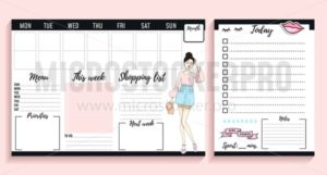 Girl boss weekly and daily planner design with fashion elements and young women. Vector illustration - Vector illustrations for everyone | Microstocker.Pro