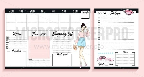 Girl Boss Weekly And Daily Planner Design With Fashion Elements And Young Women Vector Illustration Microstocker Pro