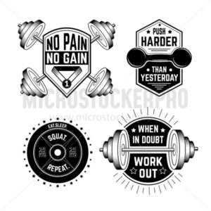 Gym motivational prints set  with grunge effect, barbell and black background. Vector illustration. - Vector illustrations for everyone | Microstocker.Pro