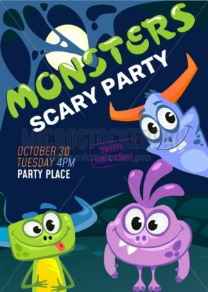 Halloween monster party invitation. Vector illustration - Vector illustrations for everyone | Microstocker.Pro
