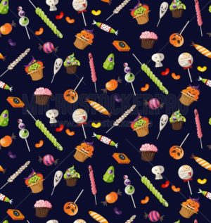 Halloween seampless pattern with sweets on navy blue background. Cartoon scary sweets for wrapping paper, textile, prints etc. - Vector illustrations for everyone | Microstocker.Pro