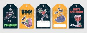 Halloween tags set with colorful cartoon doodles. Vector illustration - Vector illustrations for everyone | Microstocker.Pro