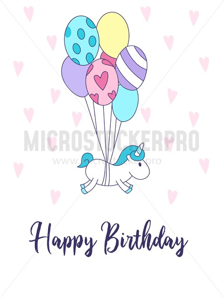 Happy Birthday greeting card with unicorn and cute balloons. Vector illustration - Vector illustrations for everyone | Microstocker.Pro