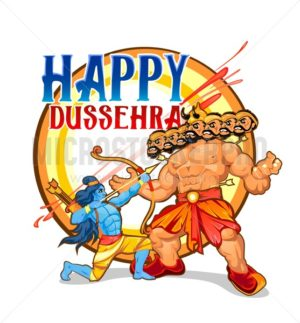 Happy Dussehra greeting card design. Cartoon illustration for Dussehra holiday. - Vector illustrations for everyone   Microstocker.Pro