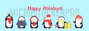 Happy Holidays greeting card with penguins. Vector illustration - Vector illustrations for everyone | Microstocker.Pro