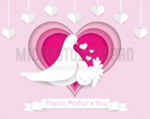 Happy Mother's day paper cut greeting card. Beautiful design template for Mother's day with frame of hearts, doves and white ribbon. Vector illustration. - Vector illustrations for everyone | Microstocker.Pro