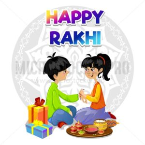 Happy Rakhi greeting card design with brother and sister. Vector illustration. - Vector illustrations for everyone | Microstocker.Pro