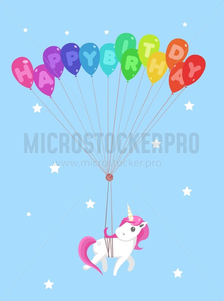 Happy birthday greeting card with cute unicorn and balloons. Vector illustration - Vector illustrations for everyone | Microstocker.Pro