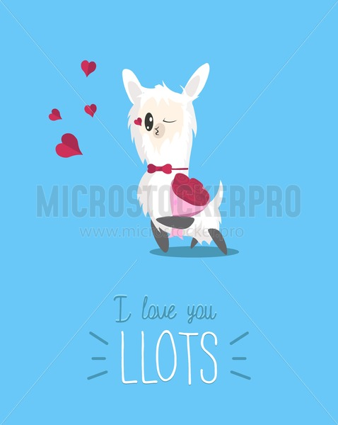 I love you llots cute card with simple llama and hearts. Modern greeting card with alpaca for Birthday, Valentine's Day etc. Cute llama with rose flowers bouquet sending kisses. Vector illustration. - Vector illustrations for everyone | Microstocker.Pro