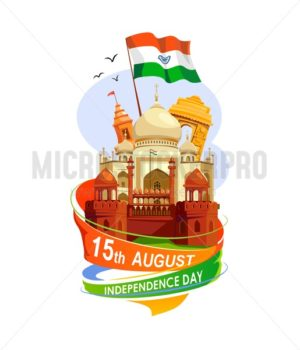 India Independence Day card isolated on white background. Cartoon India greeting card design template. - Vector illustrations for everyone | Microstocker.Pro