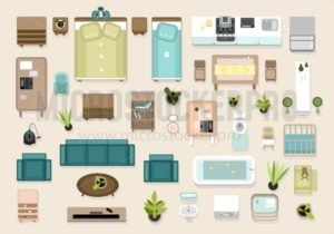 Interior top view elements set. Bedroom, nursery, living roon, kitchen, bathroom. Apatrment furniture set. - Vector illustrations for everyone | Microstocker.Pro