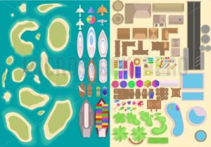 Island top view elements set. Cartoon vacation elements. Landscape top view. Vector illustration - Vector illustrations for everyone | Microstocker.Pro