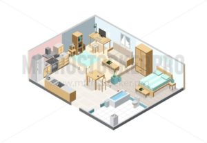 Isometric apartment isolated on white background. Kitchen, bedroom, living room and bathroom interior objects. Isometric furniture set. - Vector illustrations for everyone | Microstocker.Pro