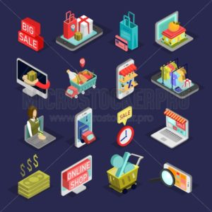 Isometric shopping icon set. Big set of online shopping elements with discounts and sales. Low poly isometric design. Vector promotional icons. - Vector illustrations for everyone | Microstocker.Pro