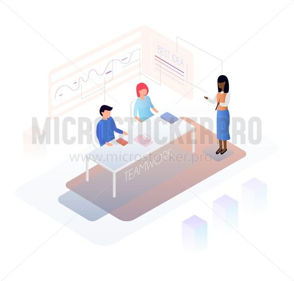 Isometric teamwork design concept with people discussing plans and graphics. Modern design for banners, posters etc.Vector illustration. - Vector illustrations for everyone   Microstocker.Pro