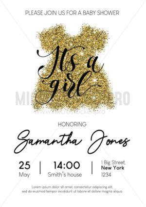 It's a girl baby shower card with gold glittered dress and lettering. Minimalistic design for baby shower invitation. Vector illustration - Vector illustrations for everyone | Microstocker.Pro