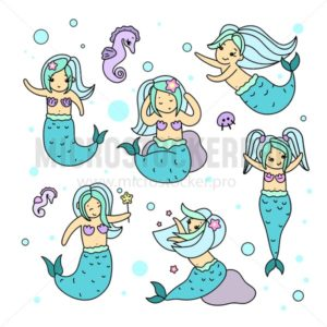 Kawaii mermaid characters set isolated on white background. Cute mermaid fairy-tale illustration with doodles. Set of characters for stickers,books, prints, invitations etc. - Vector illustrations for everyone | Microstocker.Pro
