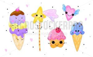 Kawaii sweets set. Ice-cream, cupcake, heart and star isolated on white background. Cute hand drawn elements for cards, posters etc. - Vector illustrations for everyone | Microstocker.Pro