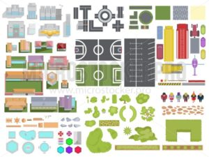 Landscape City elements set isolated on white background. City top view with buildings, trees, roads, cars, people, backyard elements, parking and stadiums. Vector landscape city view from above. - Vector illustrations for everyone | Microstocker.Pro