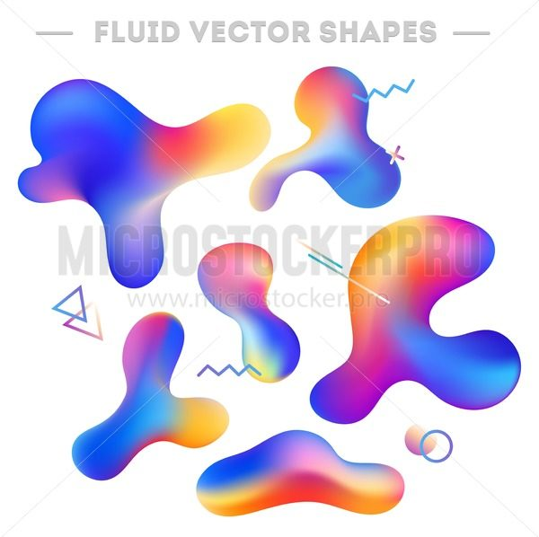 Liquid abstract shapes and geometric elements. Abstract colorful design for cards, invitations, packaging, mobile ui etc. Vector illustration.Abstract shapes set isolated on white background. - Vector illustrations for everyone | Microstocker.Pro