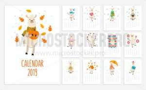 Llama calendar for 2019 with cute alpacas. Vector planner illustration for New Year. - Vector illustrations for everyone | Microstocker.Pro
