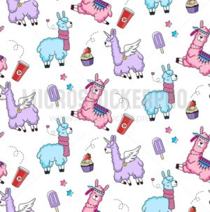 Lllama seamless pattern with cute llamas and doodles. Alpaca design for textile, prints etc. - Vector illustrations for everyone | Microstocker.Pro
