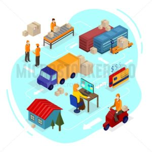 Logistics isometric illustration. Isometric vector delivery infographics. - Vector illustrations for everyone | Microstocker.Pro