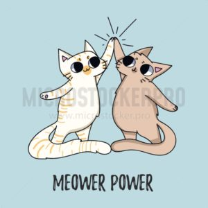 Meower power cute illustration with cats isolated on blue background. Vector illustration - Vector illustrations for everyone | Microstocker.Pro