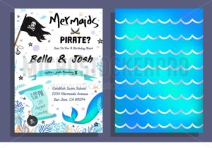 Mermaid and pirate party invitation with holographic background, mermaid tail, pirate flag and doodles. Vector Birthday card for little pirate boy and mermaid girl - Vector illustrations for everyone | Microstocker.Pro